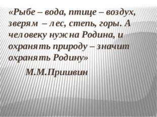 «Рыбе – вода, птице – воздух, зверям – лес, степь, горы. А человеку нужна Род