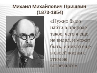 Михаил Михайлович Пришвин (1873-1954) «Нужно было найти в природе такое, чего