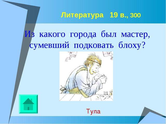 Литература 19 в., 300 Из какого города был мастер, сумевший подковать блоху?...