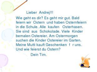 Lieber Andrej!!! Wie geht es dir? Es geht mir gut. Bald feiern wir Ostern un