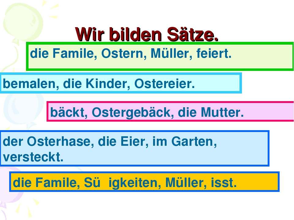 Wir bilden Sätze. die Famile, Ostern, Müller, feiert. bemalen, die Kinder, Os...