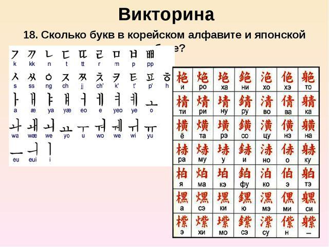 Викторина 18. Сколько букв в корейском алфавите и японской азбуке?