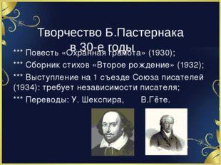 Творчество Б.Пастернака в 30-е годы *** Повесть «Охранная грамота» (1930); *