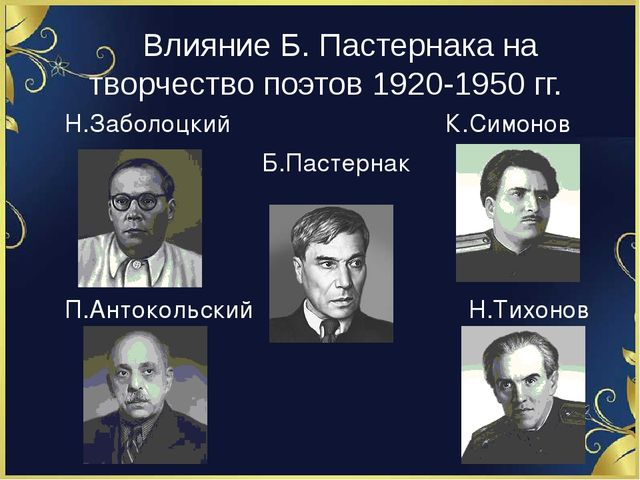 Влияние Б. Пастернака на творчество поэтов 1920-1950 гг. Н.Заболоцкий К.Симо...