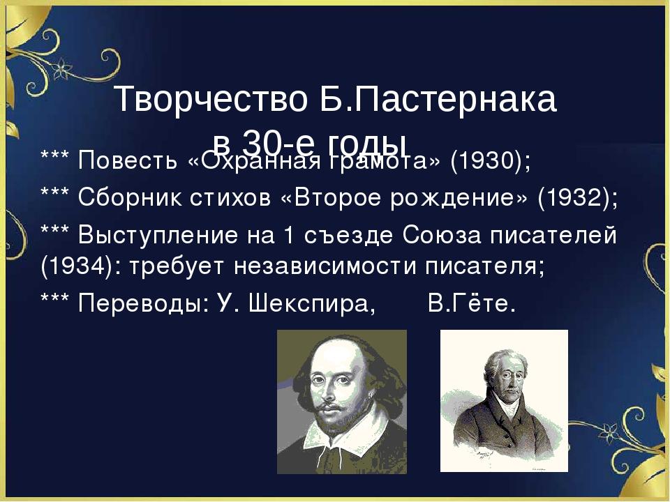 Творчество Б.Пастернака в 30-е годы *** Повесть «Охранная грамота» (1930); *...