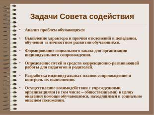 Задачи Совета содействия Анализ проблем обучающихся Выявление характера и при