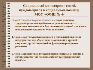 Социальный мониторинг семей, нуждающихся в социальной помощи МОУ «ООШ № 4» Се