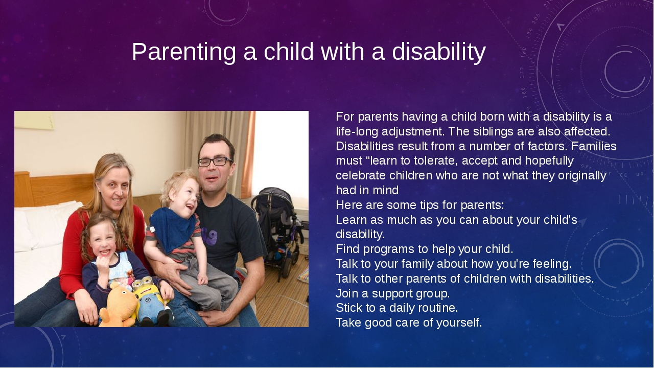 Parenting a child with a disability For parents having a child born with a di...