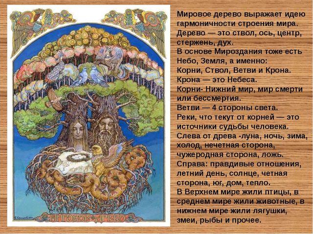 Мировое дерево выражает идею гармоничности строения мира. Дерево — это ствол,...