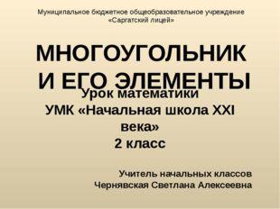 МНОГОУГОЛЬНИК И ЕГО ЭЛЕМЕНТЫ Урок математики УМК «Начальная школа XXI века» 2