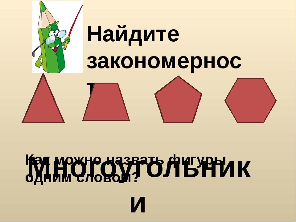 Найдите закономерность Как можно назвать фигуры одним словом? Многоугольники