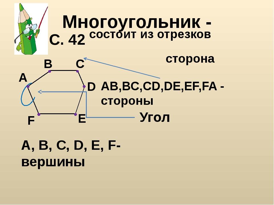 Многоугольник - А В С D Е F состоит из отрезков A, B, C, D, E, F-вершины AB,B...