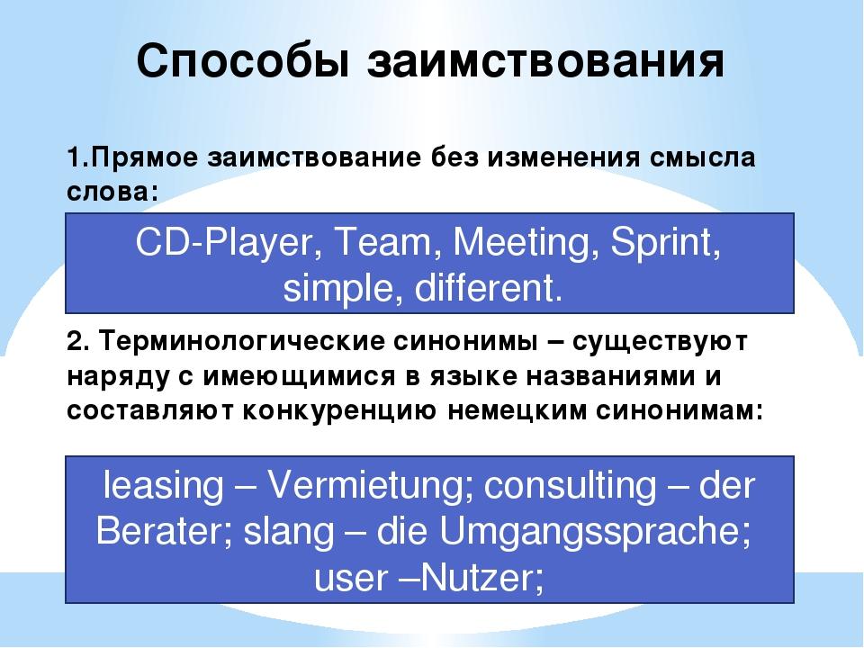 Способы заимствования 1.Прямое заимствование без изменения смысла слова: CD-P...