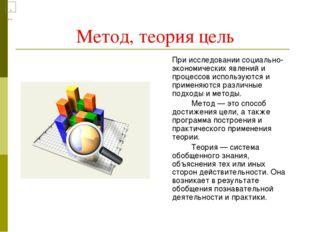 Метод, теория цель При исследовании социально-экономических явлений и процес