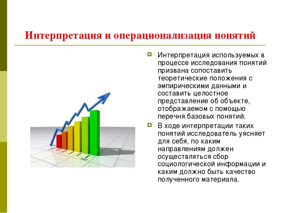 Интерпретация и операционализация понятий Интерпретация используемых в процес...