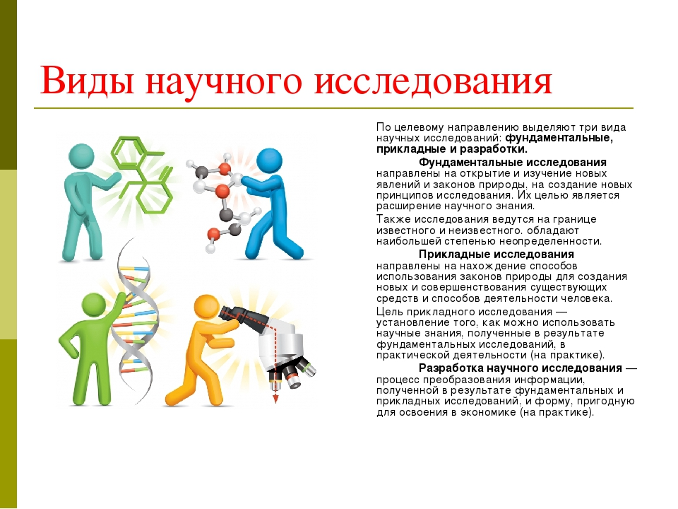 Виды научного исследования По целевому направлению выделяют три вида научных...