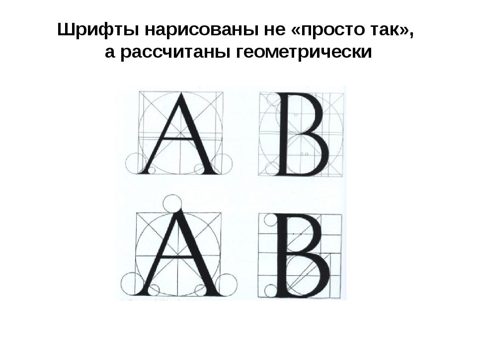 Шрифты нарисованы не «просто так», а рассчитаны геометрически