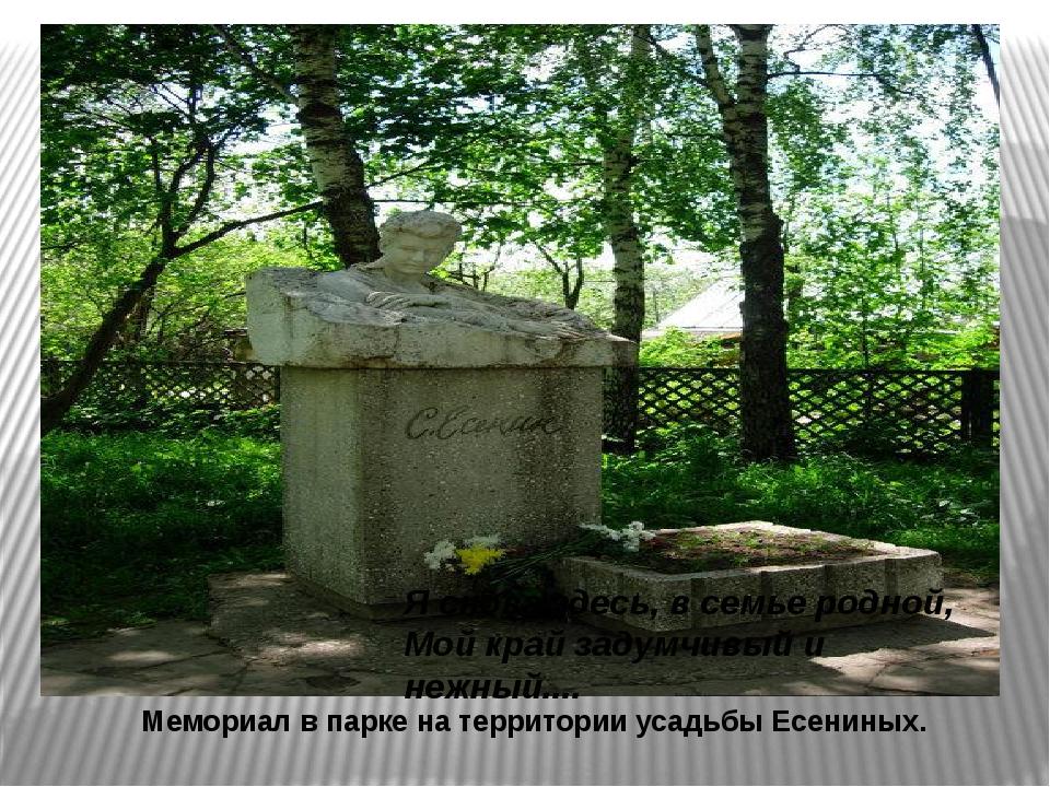 Мемориал в парке на территории усадьбы Есениных. Я снова здесь, в семье родн...