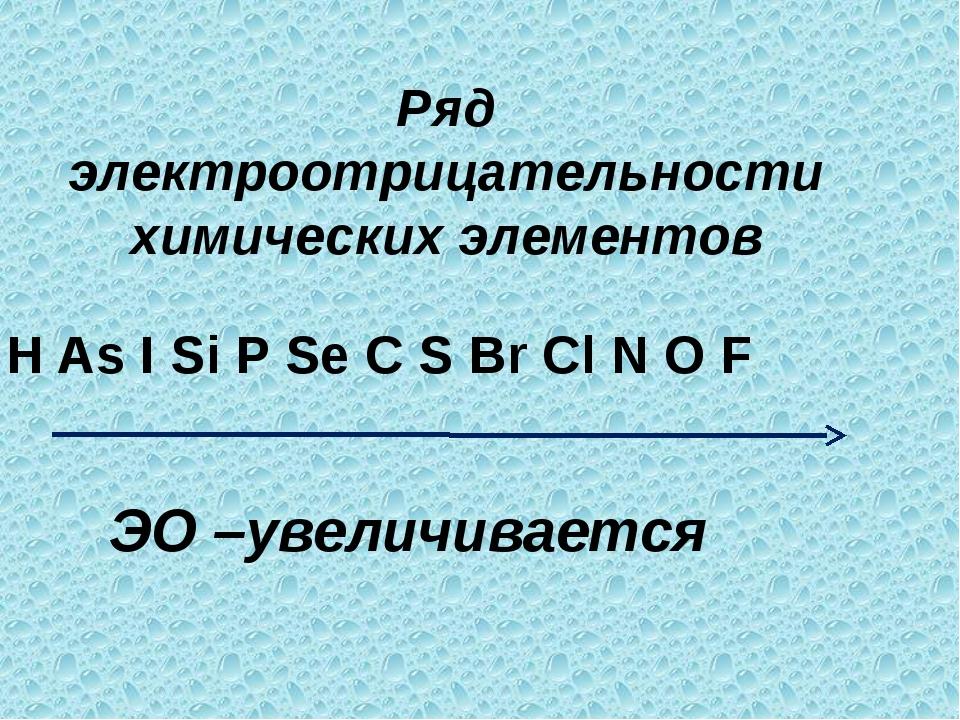Ряд электроотрицательности химических элементов H As I Si P Se C S Br Cl N O...