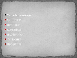 Устройства вывода: МОНИТОР ПРИНТЕР КОЛОНКИ НАУШНИКИ TV-ТЮНЕР ПРОЕКТОР