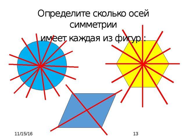 Определите сколько осей симметрии имеет каждая из фигур :