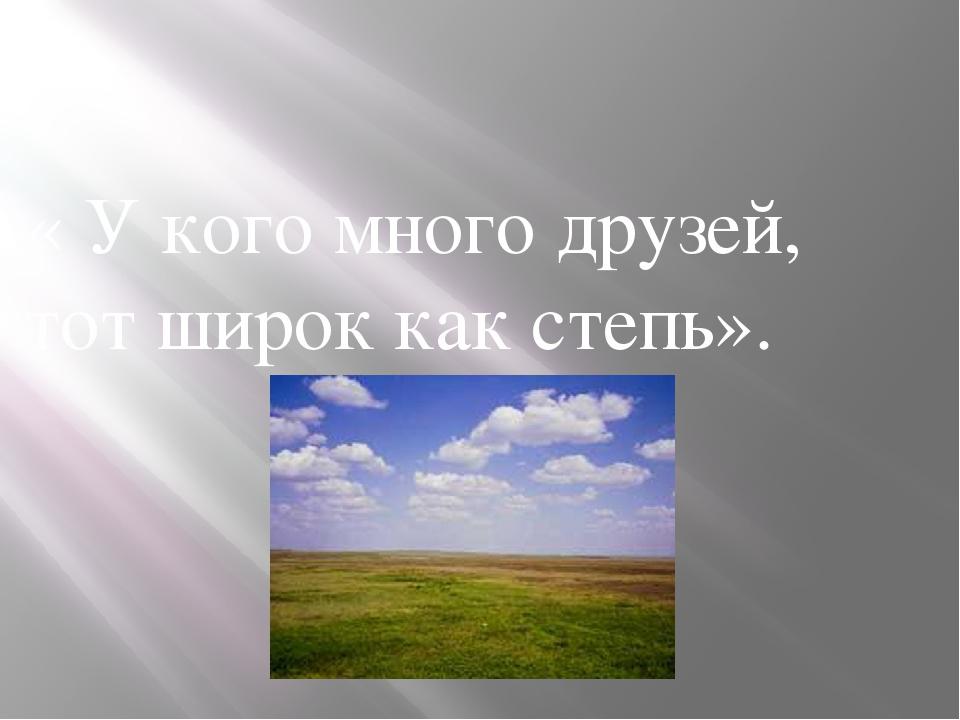 « У кого много друзей, тот широк как степь».