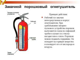 Закачной порошковый огнетушитель Принцип действия: Рабочий газ закачан непоср