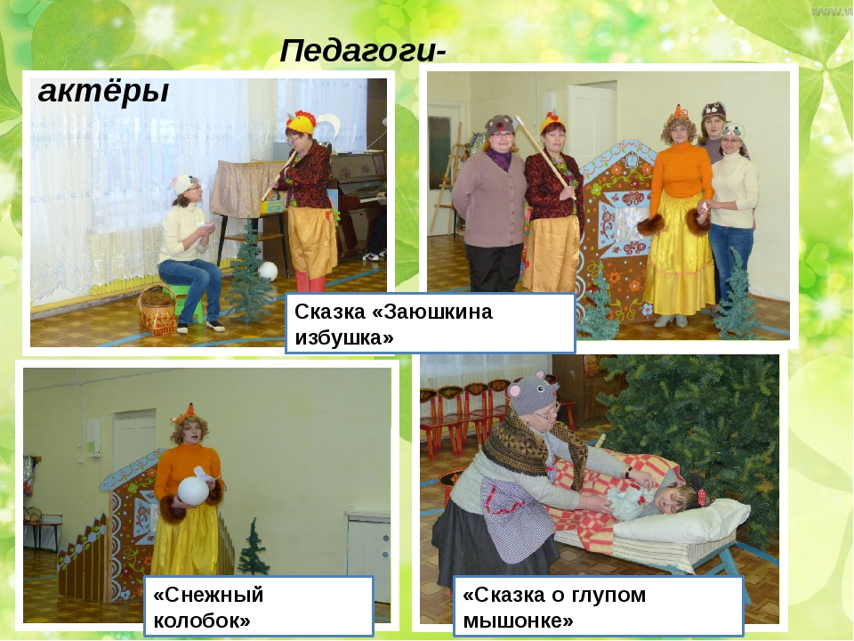 Педагоги- актёры Сказка «Заюшкина избушка» «Снежный колобок» «Сказка о глупо...