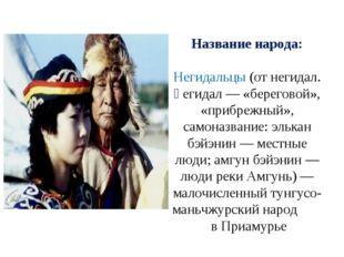 Название народа: Негидальцы (от негидал. ңегидал — «береговой», «прибрежный»,