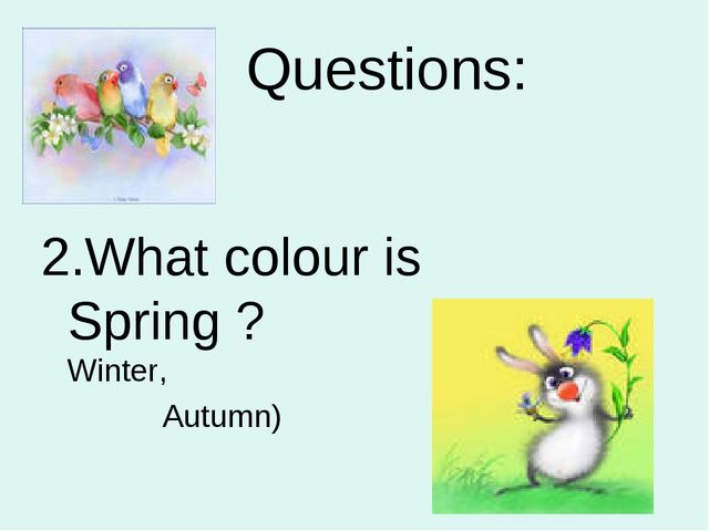 Questions: What colour is Spring ? (Summer, Winter, Autumn)