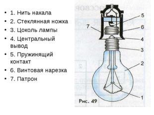 1. Нить накала 2. Стеклянная ножка 3. Цоколь лампы 4. Центральный вывод 5. Пр
