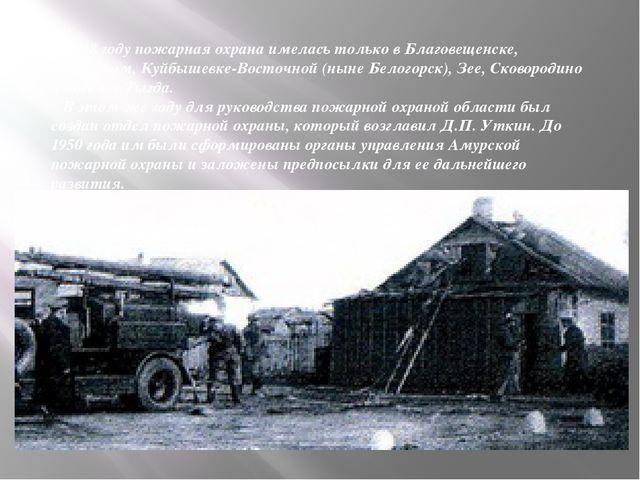 В 1948 году пожарная охрана имелась только в Благовещенске, Свободном, Куйбыш...