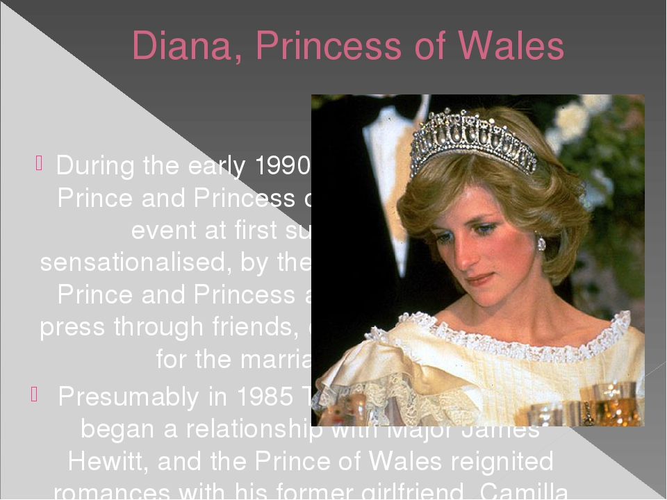 Diana, Princess of Wales During the early 1990s, the marriage of the Prince a...
