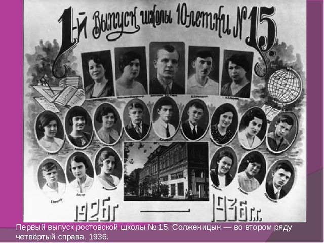 Первый выпуск ростовской школы № 15. Солженицын — во втором ряду четвёртый сп...