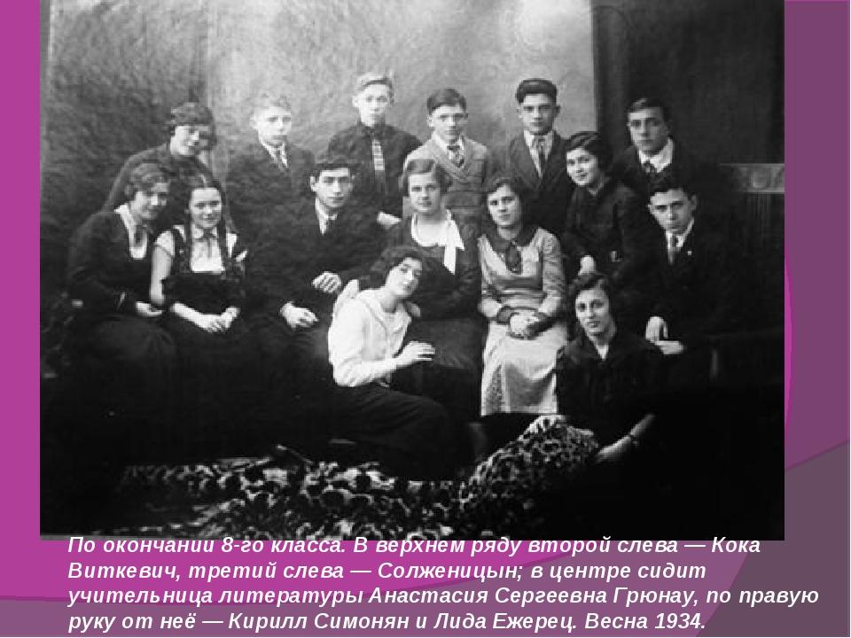 По окончании 8-го класса. В верхнем ряду второй слева — Кока Виткевич, третий...