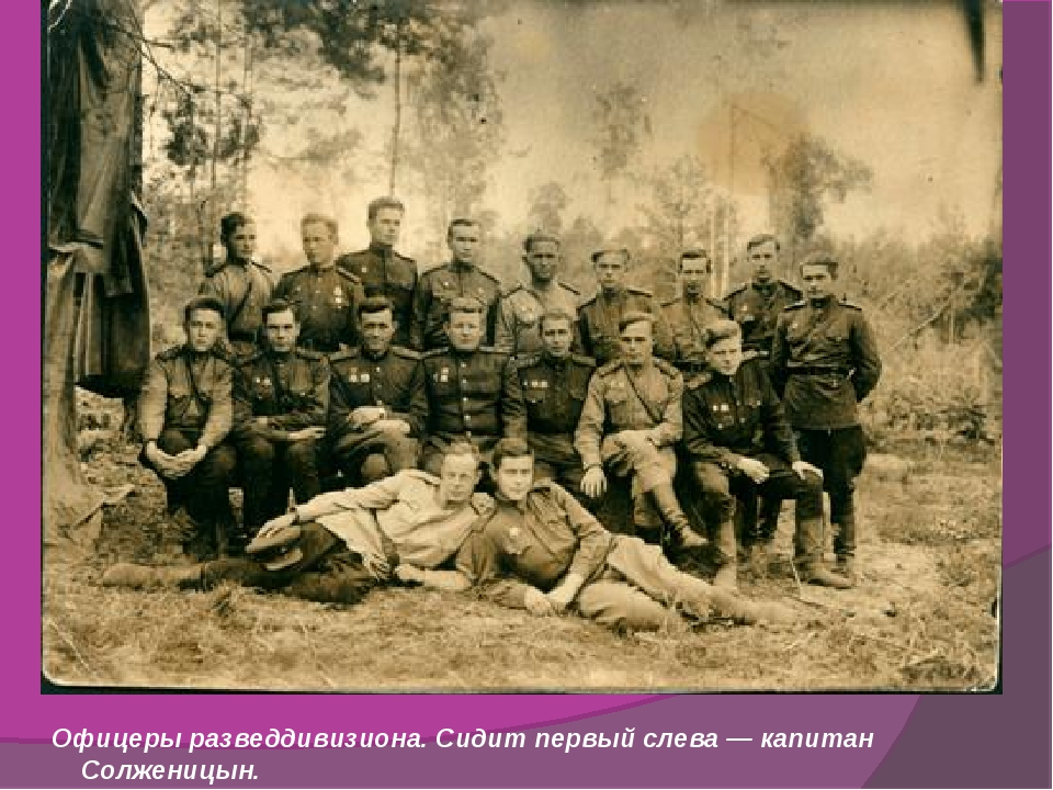 Офицеры разведдивизиона. Сидит первый слева — капитан Солженицын.