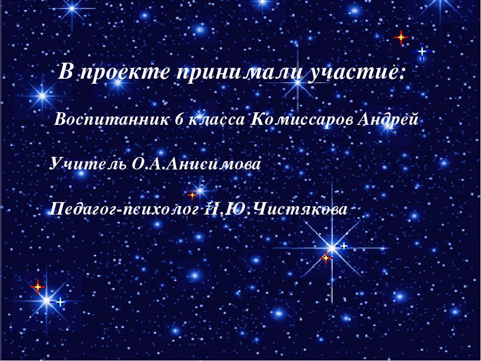 В проекте принимали участие: Воспитанник 6 класса Комиссаров Андрей Учитель...