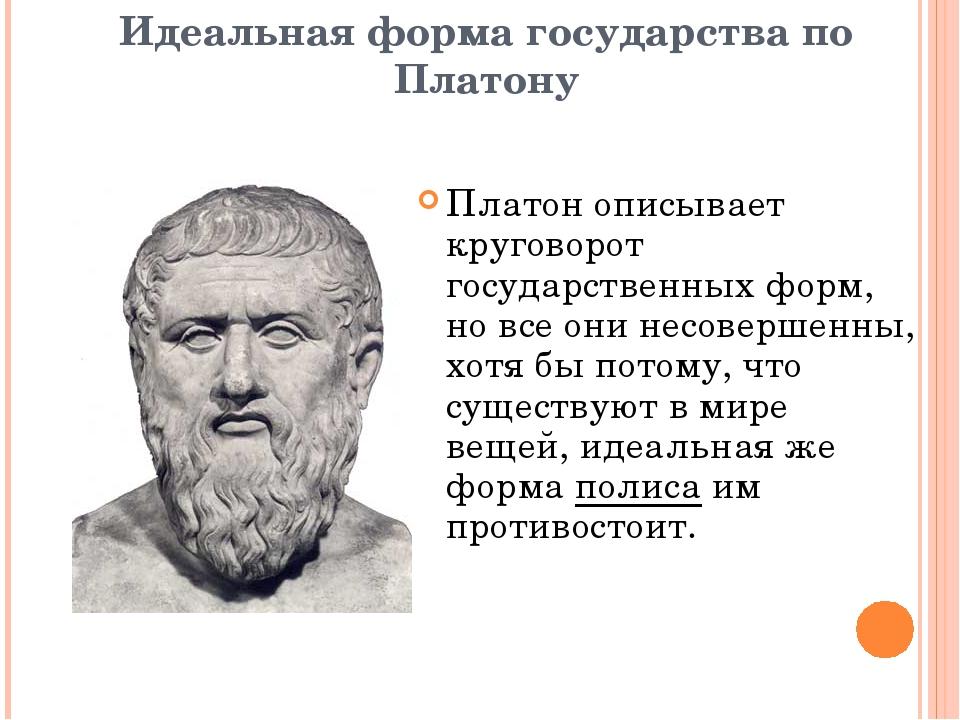 Идеальная форма государства по Платону Платон описывает круговорот государств...