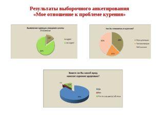 Результаты выборочного анкетирования «Мое отношение к проблеме курения»