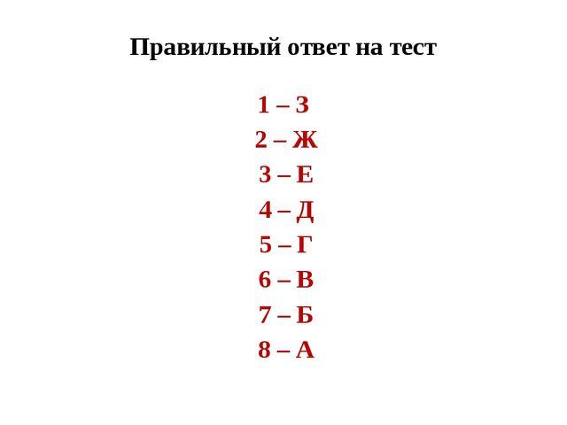 Правильный ответ на тест 1 – З 2 – Ж 3 – Е 4 – Д 5 – Г 6 – В 7 – Б 8 – А