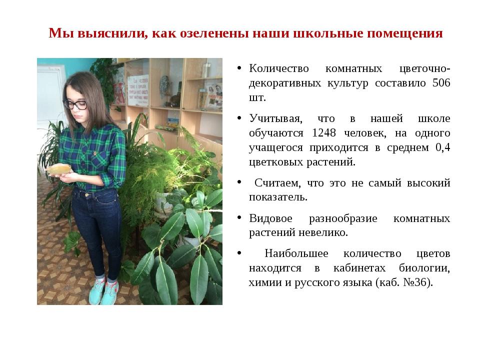 Мы выяснили, как озеленены наши школьные помещения Количество комнатных цвето...
