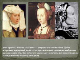 деал красоты начала 15-го века — девушка с высоким лбом. Дабы исправить приро