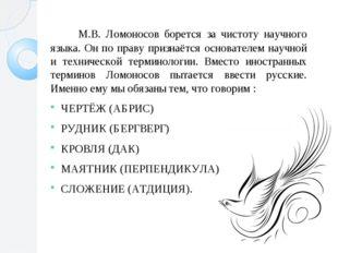 М.В. Ломоносов борется за чистоту научного языка. Он по праву признаётся осн
