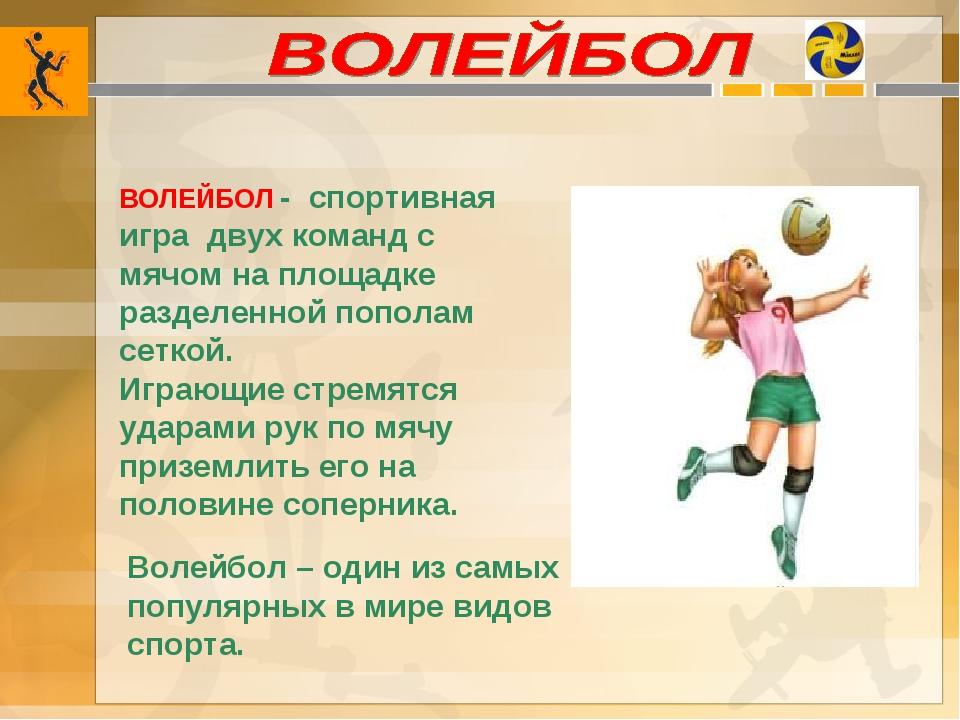 Волейбол – один из самых популярных в мире видов спорта. ВОЛЕЙБОЛ - спортивна...
