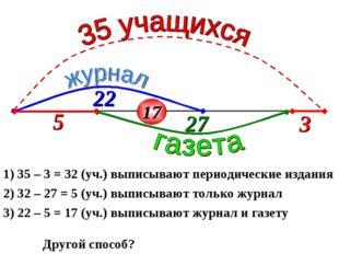 1) 35 – 3 = 32 (уч.) выписывают периодические издания 2) 32 – 27 = 5 (уч.) вы