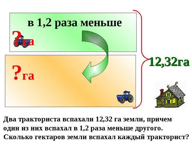 Два тракториста вспахали 12,32 га земли, причем один из них вспахал в 1,2 раз...