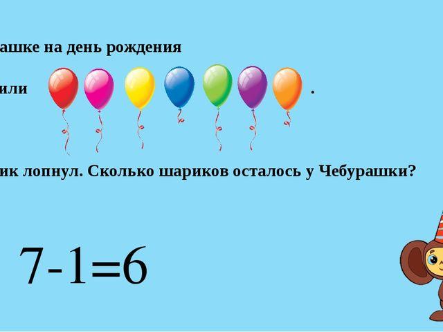 Чебурашке на день рождения подарили . 1 шарик лопнул. Сколько шариков осталос...