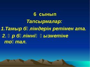 6 сынып Тапсырмалар: 1.Тамыр бөлімдерін ретімен ата. 2. Әр бөлімнің қызметіне