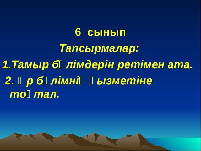 6 сынып Тапсырмалар: 1.Тамыр бөлімдерін ретімен ата. 2. Әр бөлімнің қызметіне...
