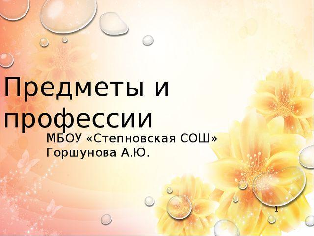 Предметы и профессии МБОУ «Степновская СОШ» Горшунова А.Ю.